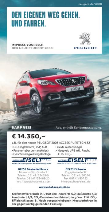Barpreis Angebot Peugeot 2008 aus der Print Werbung Autohaus Eiselt
