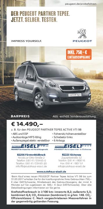 Barpreis Angebot Peugeot Partner Tepee Autohaus Eiselt